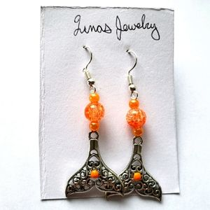 ❤ orange beaded mermaid tail dangle earrings ❤